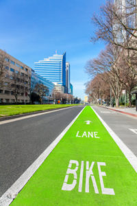 Bright green bike lane in Sacramento to help prevent Sacramento bike accidents